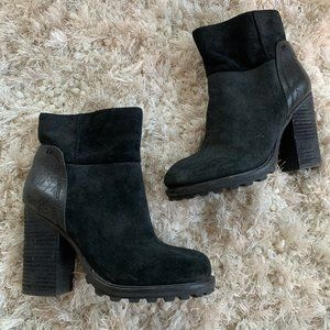 Black Sam Edelman Double Leather Ankle Boots